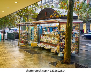 Madrid, Spain - November 16, 2018. A Newsstand European style in a street of Madrid. Spain.