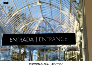 MADRID, SPAIN - NOVEMBER 2016: Palacio de Cristal in El Retiro park, entrance banner.