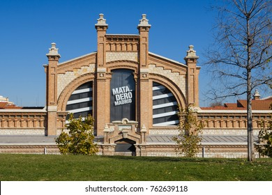 MADRID, SPAIN - NOVEMBER 22, 2017: Cultural center called Matadero Madrid, in the Madrid area known as Madrid-rio, next to the Manzanares river, NOV 22, 2017 in Madrid, Spain