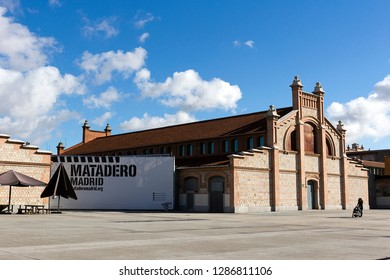 MADRID, SPAIN – November 23, 2018:  Matadero Madrid, cultural and art center created by the city in 2006. The industrial architecture of Matadero Madrid a former slaughterhouse converted to an cultura