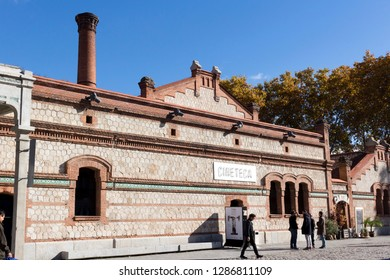 MADRID, SPAIN – November 23, 2018: Matadero Madrid, cultural center, Cineteca Pavilion, Arganzuela district. The industrial architecture of Matadero Madrid a former slaughterhouse converted to an cult