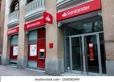 MADRID, SPAIN - NOVEMBER 23, 2019. Santander logo on Santander bank office. Santander is a spanish bank founded in 1857