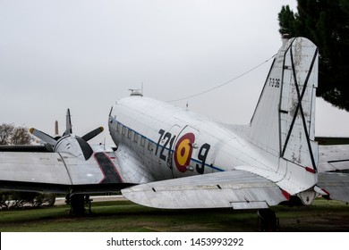 Madrid, Spain - November 24 2018: A Spanish Air Force C-47 located in the Museo del Aire, Madrid, Spain