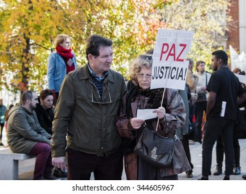 Madrid, Spain - November 28, 2015 - Protest signs against Syrian war and IS terrorism at Madrid City center.
