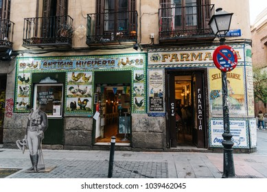 Madrid, Spain - November 3, 2017: Vintage storefront in Malasaña district in Madrid. Malasaña is one of the trendiest neighborhoods in Madrid, well known for its counter-cultural scene