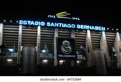 MADRID, SPAIN - NOVEMBER 7: The Santiago Bernabeu Stadium, home of the Real Madrid professional football team. Picture taken after the Liga game against Atletico Madrid on November 7, 2010.