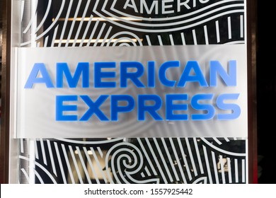 MADRID, SPAIN - NOVEMBER 8, 2019. American Express logo on American Express building. American Express is an American multinational financial services corporation