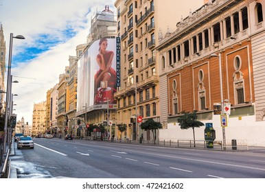MADRID, SPAIN - November 9, 2015: View Gran Via - one of the main streets on November 9, 2015 in Madrid