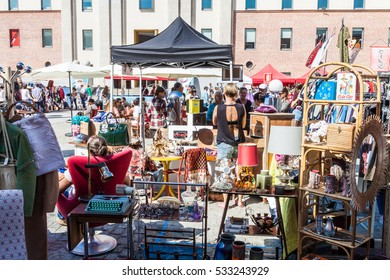 MADRID SPAIN - OCT 2. Lost & Found Market on October 2, 2016 in Madrid, Spain. Vintage market held annually in the barracks of Conde Duque.Fashion, music, decoration, toys, books, comics of all times.