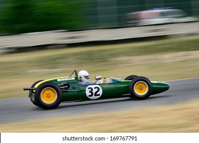 MADRID, SPAIN - OCT 30 : A driver races in a classic Jim Clark's Lotus 32B during the Jarama Vintage Festival, on Oct 30, 2011 in Madrid, Spain.