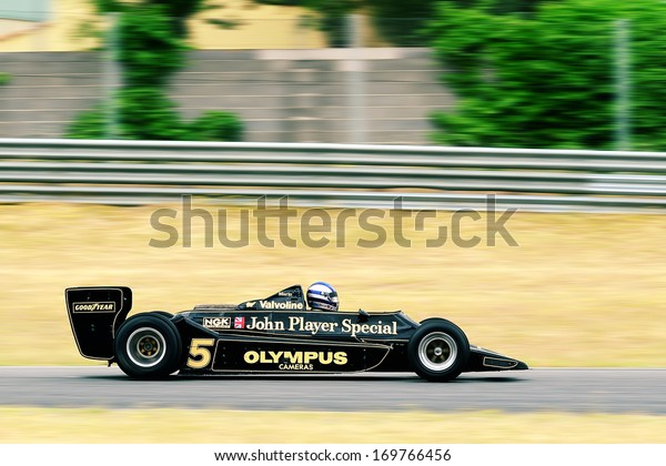 MADRID, SPAIN - OCT 30 : A driver races in a classic Mario Andretti Lotus 79 during the Jarama Vintage Festival, on Oct 30, 2011 in Madrid, Spain.
