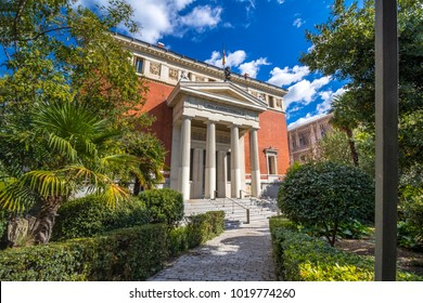 Madrid, Spain - October 1, 2017: Real Academia Española (RAE) (Royal Spanish Academy), is the official royal institution responsible for overseeing the Spanish language.