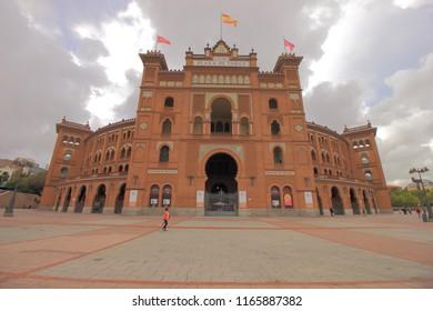 Madrid, Spain - October 18 2018. Plaza de Toros or Plaza de Toros Monumental de Las Ventas is bull fighting ring or bullring locted in Salamanca District of Madrid, Spain