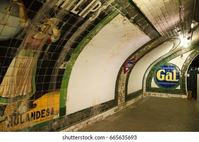 Madrid, Spain - October 18: Chamberi underground station on October 18, 2014 in Madrid,Spain.Chamberi is one of the most ancient metro station of Spain, was built in 1919 and was operating until 1966.