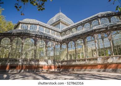 MADRID, SPAIN - OCTOBER, 2016: Landmark: Palacio de Cristal in the Parque del Retiro.