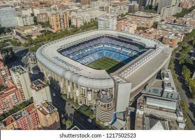 MADRID, SPAIN, OCTOBER 2018 - Aerial view of Santiago Bernabeu stadium
