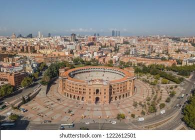 MADRID, SPAIN, OCTOBER 2018 - Aerial view of Plaza de Toros in Madrid