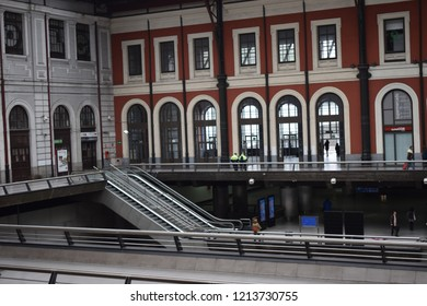Madrid, Spain; October 2018:  Príncipe Pío is a Madrid metro and train station. It was opened in 1925, but was transformed in a modern station with a shopping mall, in the former Estación del Norte.