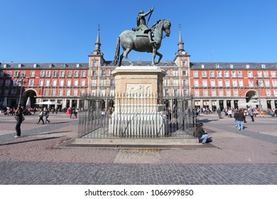 MADRID, SPAIN - OCTOBER 22, 2012: People visit Plaza Mayor in Madrid, Spain. 3.2 million people live in Spanish capital city. It is the 3rd largest city in European Union.