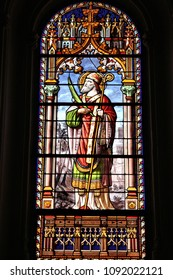MADRID, SPAIN - OCTOBER 22, 2012: Saint Eugene (the pope) stained glass art in Saint Jerome church (San Jeronimo el Real) in Madrid, Spain. The church dates back to 16th century.