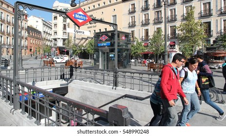 MADRID, SPAIN - OCTOBER 22, 2012: People exit Metro station on October 22, 2012 in Madrid. In 2011 Madrid Metro served 634 million rides. It exists since 1919.