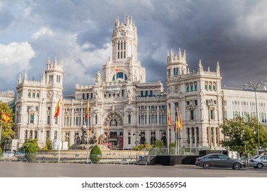 MADRID, SPAIN - OCTOBER 22, 2017: Cybele Palace (Palacio de Cibeles) in Madrid.