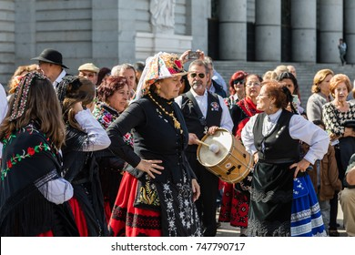 MADRID, SPAIN - OCTOBER 22, 2017: Folklore group performing in Madrid on the occasion of transhumance, OCT 22, 2017 in Madrid, Spain