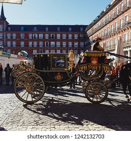 Madrid, Spain - October 23, 2017: Spanish Royal carriage seen at the Plaza Mayor during a ceremonial parade.