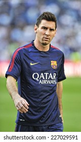 MADRID, SPAIN - October 25th, 2014 : Argentine football superstar of FC Barcelona LEO MESSI during the warm up of La Liga match at Santiago Bernabeu Stadium.