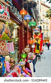 MADRID, SPAIN - OCTOBER 26, 2015 : souvenirs and accessories store on one of the main streets of Madrid