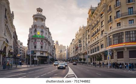 MADRID, SPAIN - OCTOBER 31, 2017: Gran Via avenue (Broadway of Madrid), Madrid, Spain, Madrid is the capital and the largest city of Spain,