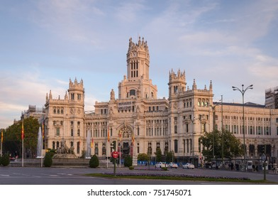 MADRID, SPAIN - OCTOBER 31, 2017: Plaza de Cibeles, Madrid, Spain, Madrid is the capital and the largest city of Spain,