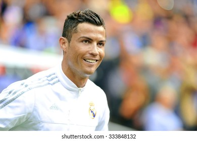 MADRID, SPAIN - October 31st, 2015 :  portrait of Portuguese CRISTIANO RONALDO of REAL MADRID smiling when entering the pitch during Spain La Liga match vs Las Palmas at Santiago Bernabeu Stadium