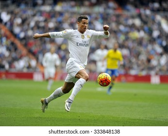 MADRID, SPAIN - October 31st, 2015 :  Portuguese CRISTIANO RONALDO of REAL MADRID in action during Spain La Liga match vs Las Palmas at Santiago Bernabeu Stadium