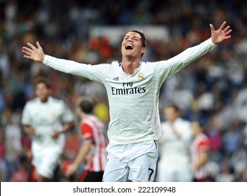MADRID, SPAIN - October 5th, 2014 : Portuguese CRISTIANO RONALDO of Real Madrid scores against Athletic Bilbao and celebrates during La Liga match at Santiago Bernabeu Stadium.