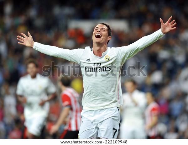 MADRID, SPAIN - October 5th, 2014 : Portuguese CRISTIANO RONALDO of Real Madrid scores against Athletic Bilbao and celebrates during La Liga match at Santiago Bernabeu Stadium.