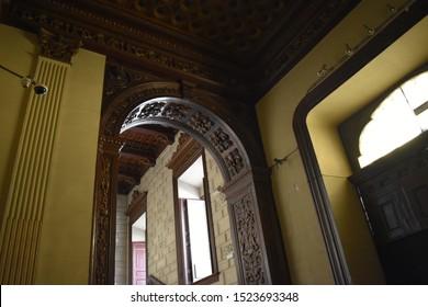 MADRID, SPAIN - OCTOBER, 5TH, 2019: Spanish intarsia inside the Hall of Realms (Salón de Reinos) in Madrid, Spain. It was built in 1629 as part of the Buen Retiro Palace (Palacio del Buen Retiro)