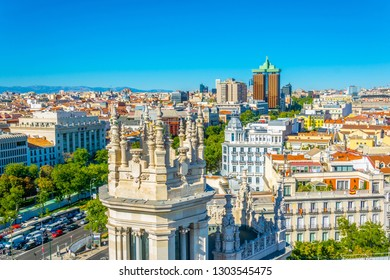 MADRID, SPAIN, OCTOBER 6, 2017: Aerial view of Paseo de Recoletos in Madrid, Spain