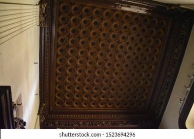 MADRID, SPAIN - OCTOBER, 6TH, 2019: Intarsia ceiling inside the Hall of Realms (Salón de Reinos) in Madrid, Spain. It was built in 1629 as part of the Buen Retiro Palace (Palacio del Buen Retiro)