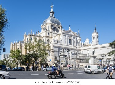 Madrid, Spain - October 7, 2017: Busy Street in Front of Almudena Cathedral