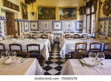 Madrid, Spain - October 9, 2017: Interior of the World's Oldest Restaurant - Botin