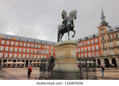 Madrid, Spain - October18 2018. The bronze statue of King Philip 111 at the center of Plaza Mayor square in Madrid, Spain.
