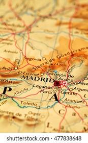 Madrid Spain, on atlas world map