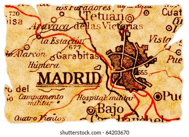 Madrid, Spain on an old torn map from 1949, isolated. Part of the old map series.