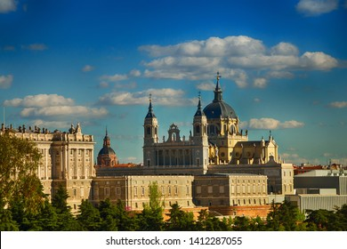 Madrid, Spain. Panorama of the city, view of the cathedral.