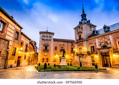 Madrid, Spain. Plaza de La Villa in the old town, the oldest civil square dating back to 15th century.