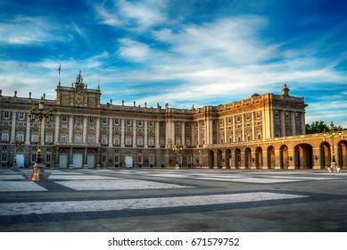 Madrid, Spain: the Royal Palace, Palacio Real de Madrid at sunset