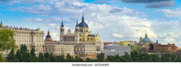 Madrid, Spain. Santa Maria la Real de La Almudena Cathedral and the Royal Palace.