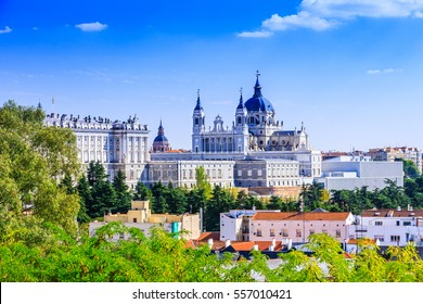 Madrid, Spain. Santa Maria la Real de La Almudena Cathedral and the Royal Palace.