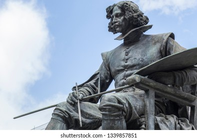 Madrid, Spain - Sept 12th, 2018: Bronze statue of Diego Velazquez painter, by Aniceto Marinas, Madrid, Spain